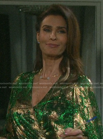 Hope's green and gold metallic wrap dress on Days of our Lives