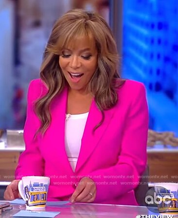 Sunny's pink blazer and side stripe pants on The View