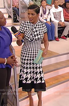 Tamron's houndstooth dress on Tamron Hall Show