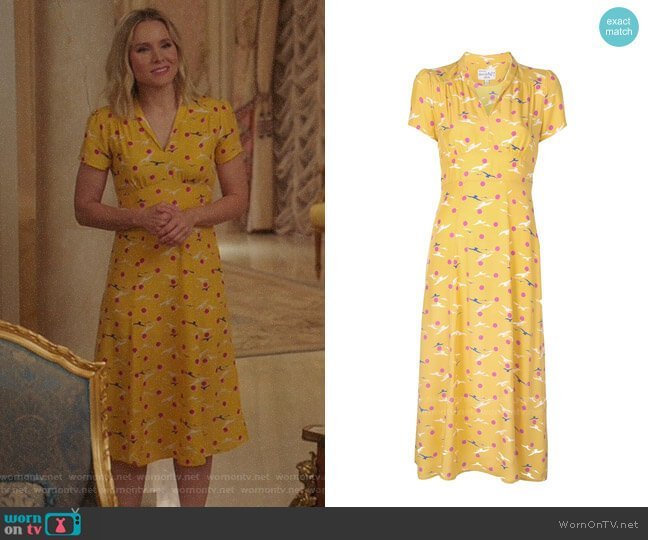 HVN Morgan Seagull Dress worn by Eleanor Shellstrop (Kristen Bell) on The Good Place