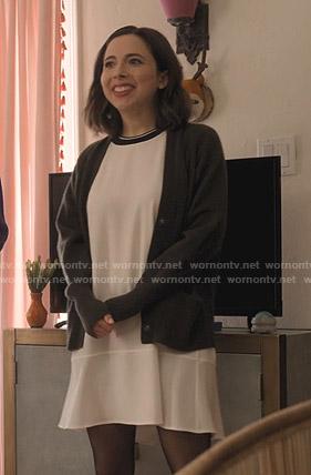 Izzy's white contrast t-shirt dress on Dollface