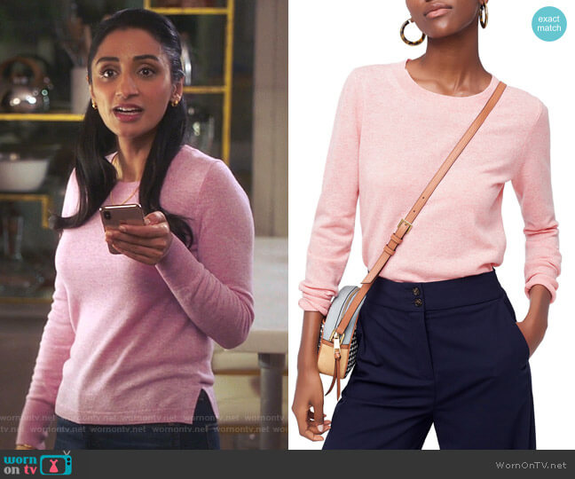 Crewneck Cashmere Sweater by J. Crew worn by Mallory Modi (Kiran Deol) on Sunnyside
