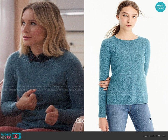 J. Crew Everyday Cashmere Crewneck Sweater in Hthr Bright Harbour worn by Eleanor Shellstrop (Kristen Bell) on The Good Place