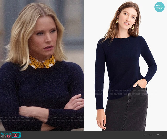J. Crew Navy Long-sleeve everyday cashmere crewneck sweater worn by Eleanor Shellstrop (Kristen Bell) on The Good Place