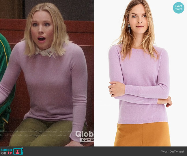 J. Crew Long-sleeve everyday cashmere crewneck sweater in Smoky Wisteria worn by Eleanor Shellstrop (Kristen Bell) on The Good Place