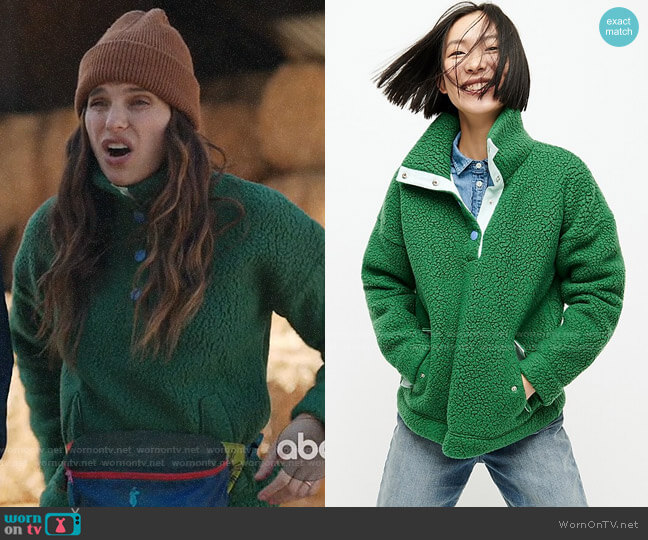 J. Crew Snap collar sherpa sweatshirt in Polartec Fleece in Alpine Meadow worn by Rio (Lake Bell) on Bless This Mess