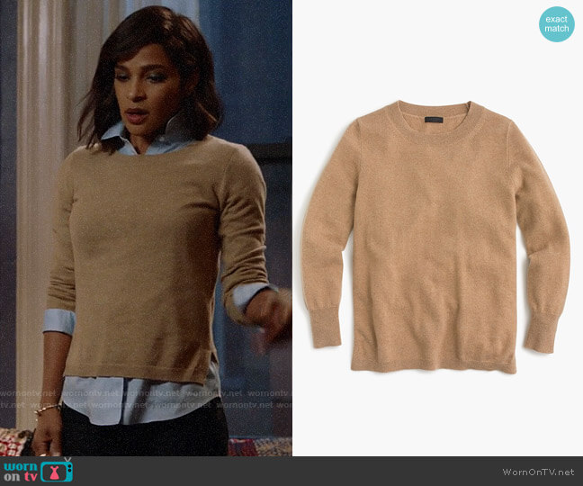 J. Crew Three-quarter sleeve everyday cashmere crewneck sweater worn by Edie Palmer (Megalyn Echikunwoke) on Almost Family