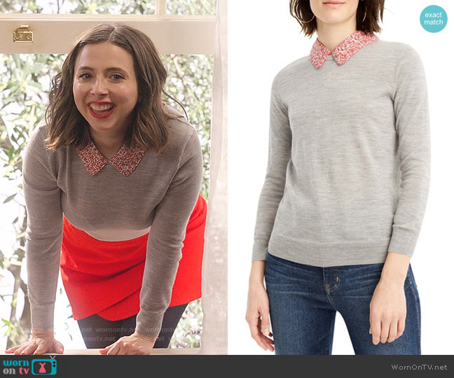 Tippi Liberty Print Collar Wool Sweater by J. Crew worn by Izzy Levine (Esther Povitsky) on Dollface