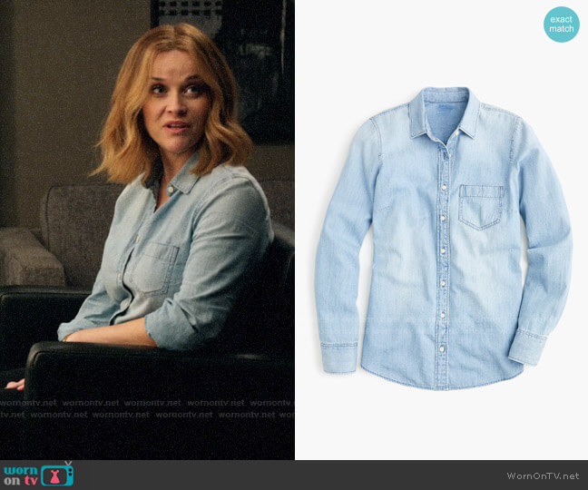 J. Crew Chambray Shirt in Lovers Lane Wash worn by Bradley Jackson (Reese Witherspoon) on The Morning Show