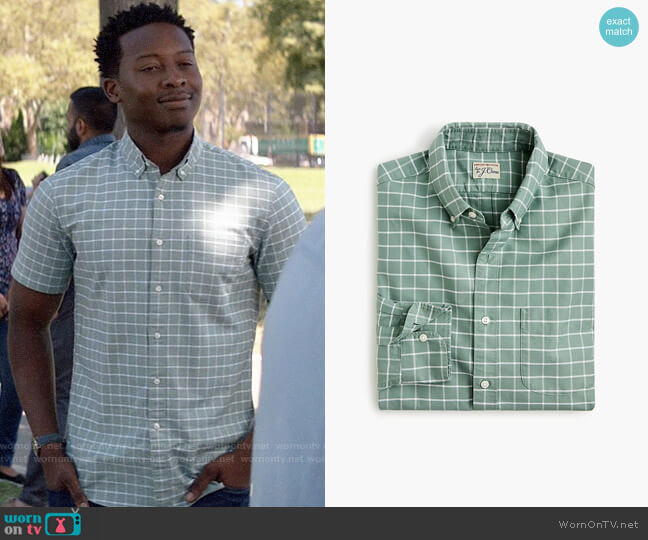 J. Crew American Pima cotton oxford shirt with mechanical stretch in windowpane worn by Miles Finer (Brandon Micheal Hall) on God Friended Me