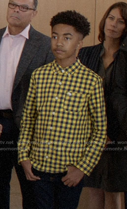 Jack's yellow gingham check shirt on Black-ish
