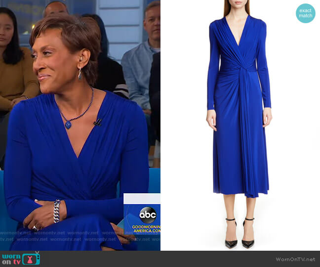 Twist Long Sleeve Jersey Dress by Jason Wu worn by Robin Roberts  on Good Morning America