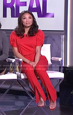Jeannie's red twisted sleeve top and front slit pants on The Real