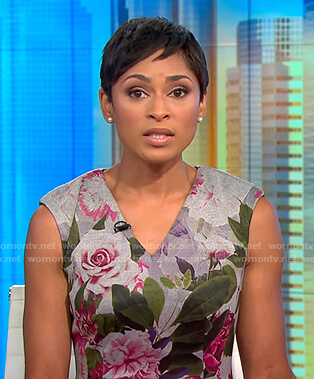 Jericka's grey flroal v-neck dress on CBS This Morning
