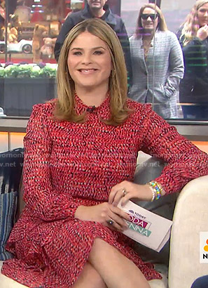 Jenna's red printed ruffled dress on Today