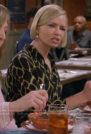 Jill's giraffe print blouse on Mom