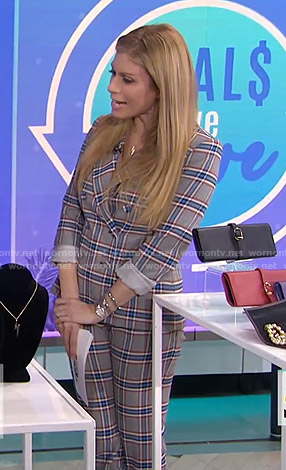 jill's grey and blue plaid suit on Today