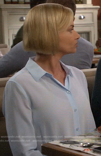 Jill's light blue button down blouse on Mom