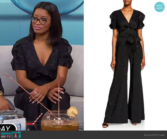 Flared Jacquard Ruffle Jumpsuit by Jill Stuart worn by Keke Palmer  on Good Morning America