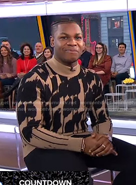 John Boyega's black and beige printed sweater on Good Morning America