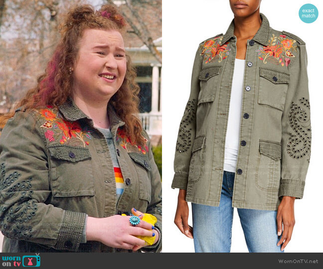 Jonny Was Violette Button-Front Military Jacket with Eyelet Details worn by Ashlyn (Julia Lester) on High School Musical The Musical The Series