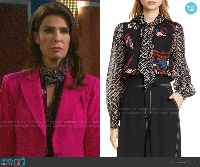 Joie Kanela Mixed Print Tie Neck Silk Blouse worn by Hope Williams (Kristian Alfonso) on Days of our Lives