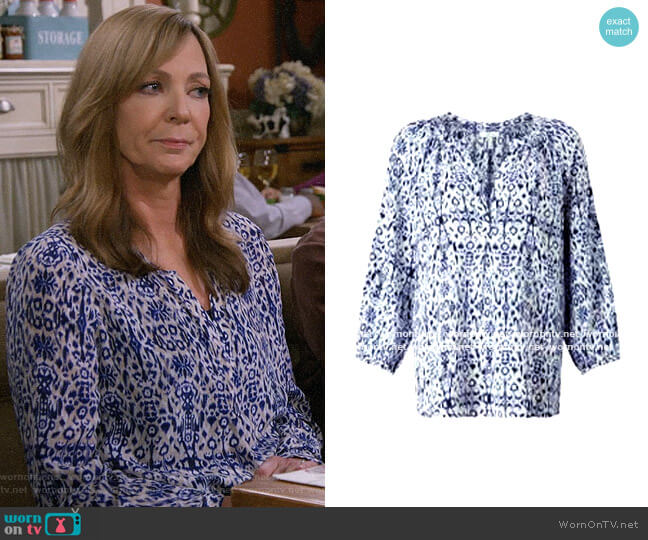Joie Addie B Ikat Blouse worn by Bonnie Plunkett (Allison Janney) on Mom
