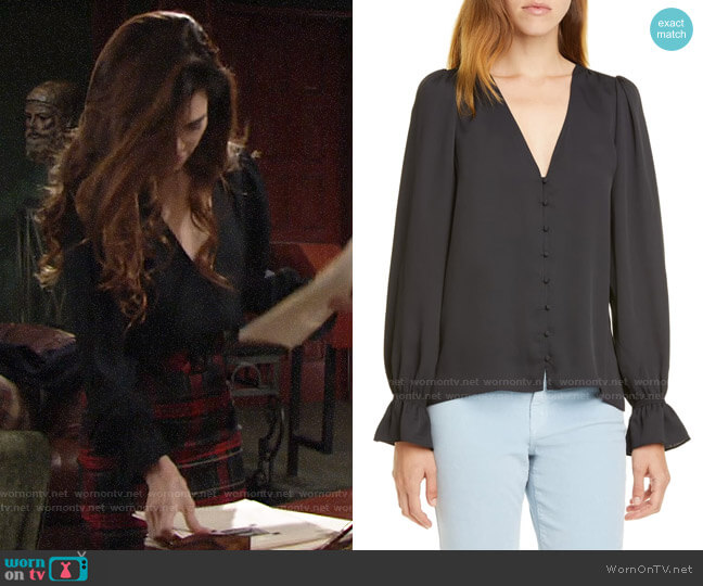 Joie Bolona Blouse worn by Victoria Newman (Amelia Heinle) on The Young & the Restless