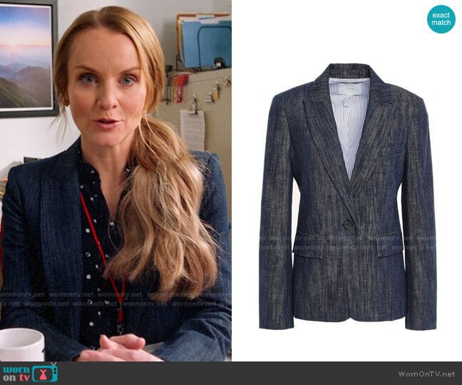 Joie Denim Blazer worn by Miss Jenn (Kate Reinders) on High School Musical The Musical The Series