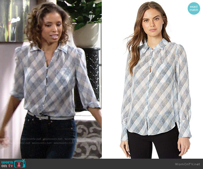 Joie Malcah Blouse worn by Elena Dawson (Brytni Sarpy) on The Young & the Restless