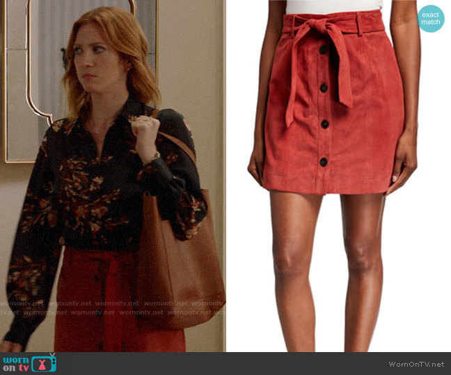 Joie Neida Suede Button-Front Skirt worn by Julia Bechley (Brittany Snow) on Almost Family