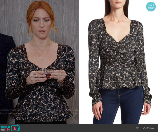 Jonathan Simkhai Floral Ruched Hammered Stretch-Silk Puff-Sleeve Twist-Front Top worn by Julia Bechley (Brittany Snow) on Almost Family