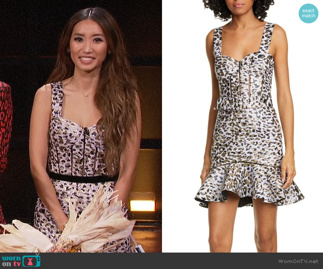 Jonathan Simkhai Leopard Lame Bustier Cocktail Dress worn by Brenda Song on A Little Late with Lilly Singh
