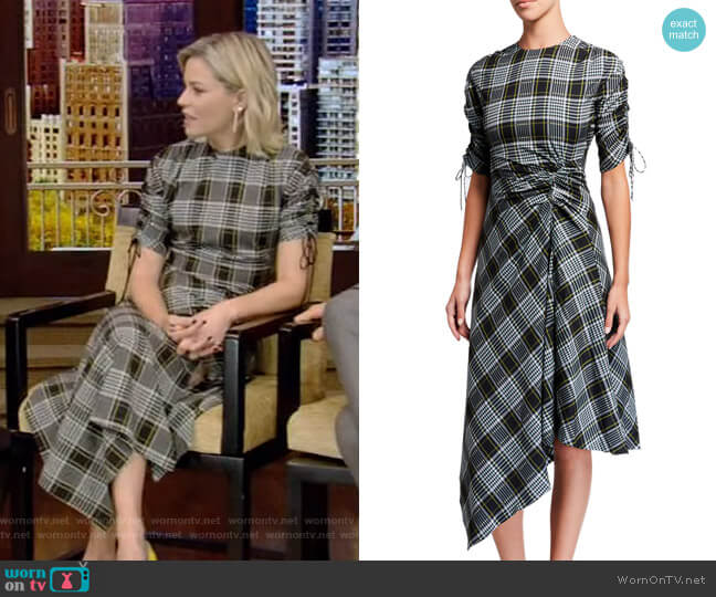 Ruched Plaid Handkerchief Dress by Jonathan Simkhai worn by Elizabeth Banks on Live with Kelly and Ryan
