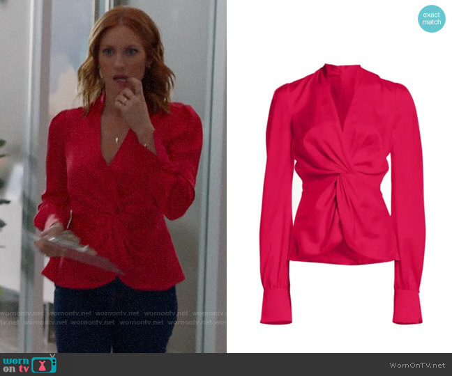 Jonathan Simkhai Satin Twist Front Long-Sleeve Top worn by Julia Bechley (Brittany Snow) on Almost Family