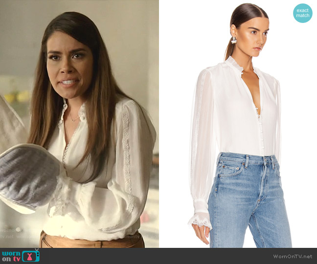 Button Down Blouse by Jonathan Simkhai worn by Cristal Jennings (Daniella Alonso) on Dynasty