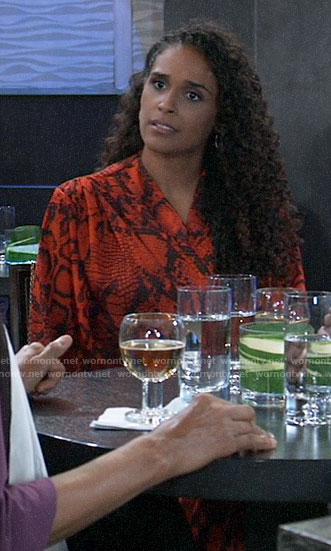Jordan's red snake print dress on General Hospital