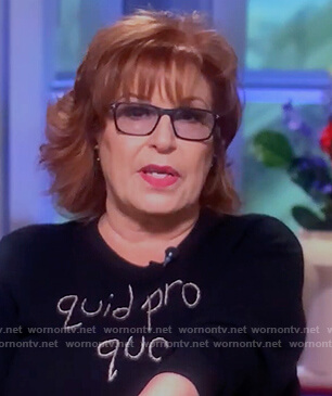 Joy's black quid pro quo sweater on The View