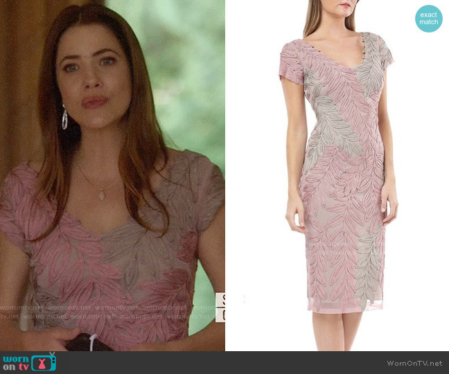 JS Collections Leaf Soutache V-Neck Sheath Dress worn by Andrea Rojas (Julie Gonzalo) on Supergirl