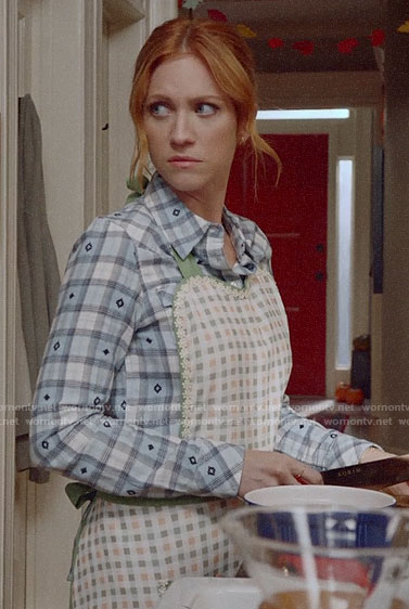 Julia's blue plaid embroidered shirt on Almost Family