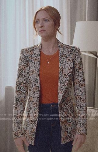Julia's geometric floral blazer on Almost Family
