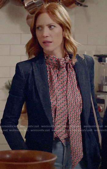 Julia's geometric tie neck blouse and denim blazer on Almost Family