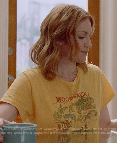 Julia's yellow Woodstock tee on Almost Family