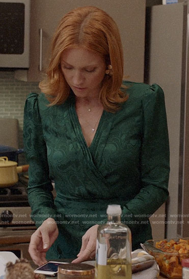 Julia's green Thanksgiving dress on Almost Family