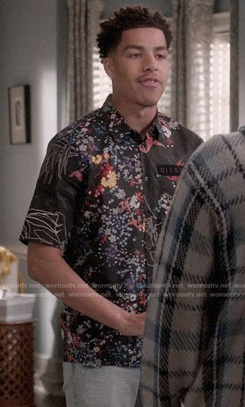 Junior's black floral shirt on Black-ish