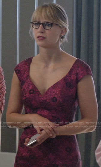 Kara's pink floral jacquard dress on Supergirl