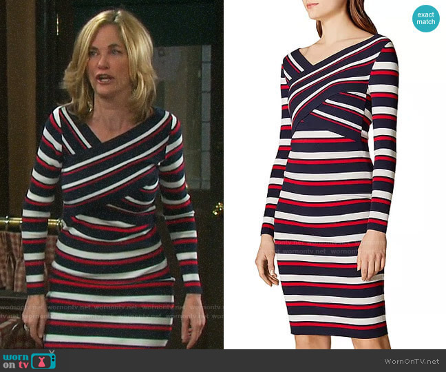 Karen Millen Crisscross Striped Dress worn by Eve Donovan (Kassie DePaiva) on Days of our Lives
