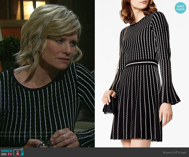 Karen Millen Pin Stripe Knit Dress worn by Kayla Brady (Mary Beth Evans) on Days of our Lives