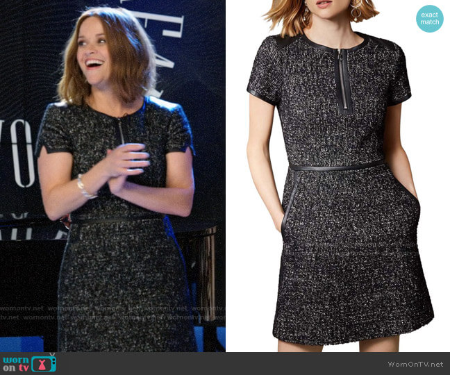 Karen Millen Tweed Zip-Front Dress worn by Bradley Jackson (Reese Witherspoon) on The Morning Show
