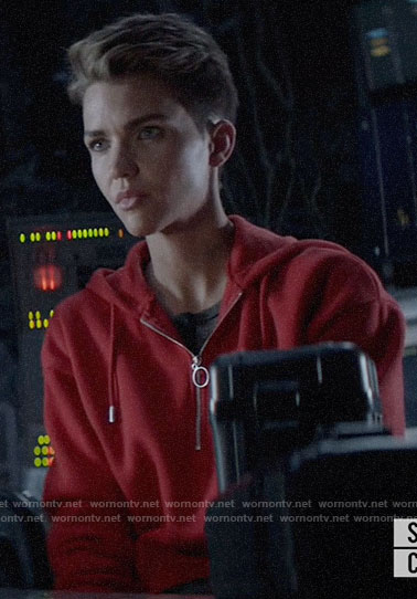 Kate's red half zip hoodie on Batwoman